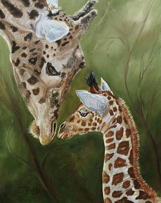 Painting - Welcoming Baby Giraffe by Jan Priddy