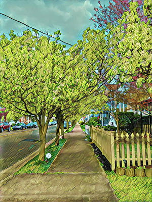 Surrealism Royalty-Free and Rights-Managed Images - Wesley Sidewalk in Spring by Surreal Jersey Shore