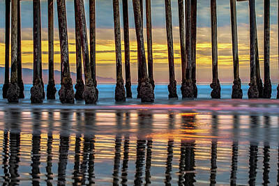 Royalty-Free and Rights-Managed Images - West Coast Pier Colorful Sunset - Pismo Beach California by Gregory Ballos