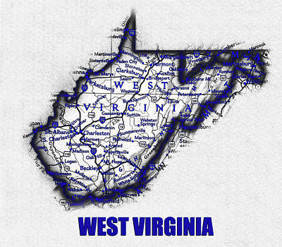 Science Collection - West Virginia blue print work by David Lee Thompson