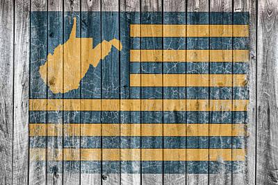 Sports Paintings - West Virginia Flag Barn Wall Vintage by Aaron Geraud