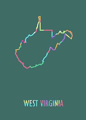 Royalty-Free and Rights-Managed Images - West Virginia Pop Art Map Green BG by Ahmad Nusyirwan