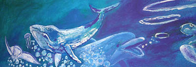 Painting - Whale and Dolphin by Tina Winterlik