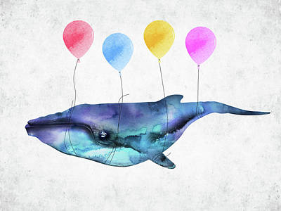 Surrealism Digital Art - Whale with colorful balloons watercolor by Mihaela Pater