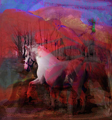 Mixed Media - What's In The Stallion's Mind? by Patricia Keller