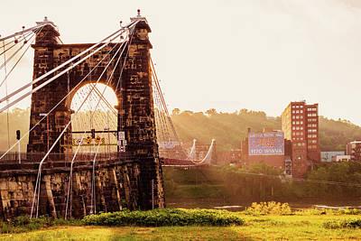 Bicycle Patents - Wheeling Suspension Bridge Sunrise by Aaron Geraud