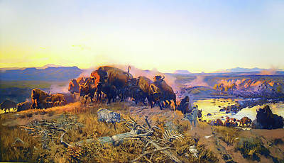 Animals Paintings - When The Land Belonged To God by Charles Russell