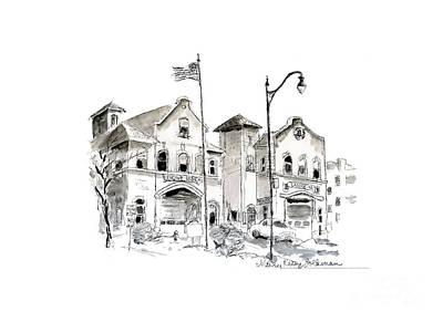 Drawing - Whimsical Firehouse Engine 34, Ladder 7, Buffalo NY by Mary Kunz Goldman