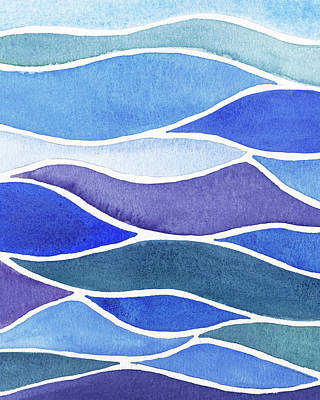 Royalty-Free and Rights-Managed Images - Whimsical Ocean Waves And Lines Watercolor  by Irina Sztukowski