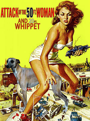 1-war Is Hell Royalty Free Images - Whippet Art - Attack of the 50ft woman Movie Poster Royalty-Free Image by Sandra Sij