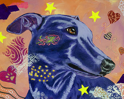 Painting - Whippet in the Stars by Kate Benzin