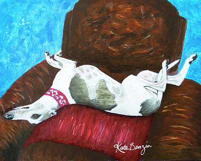 Painting - Whippet Roaching by Kate Benzin