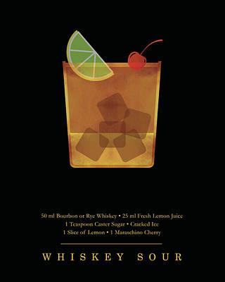 Digital Art - Whiskey Sour Cocktail - Classic Cocktail Print - Black and Gold - Modern, Minimal Lounge Art by Studio Grafiikka