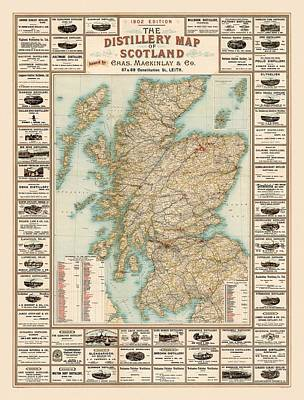 Shark Art - Whisky Map 1902 by Andrew Fare