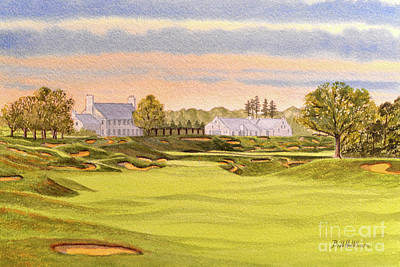 Recently Sold - Sports Paintings - Whistling Straits Golf Course 9th And 18th by Bill Holkham