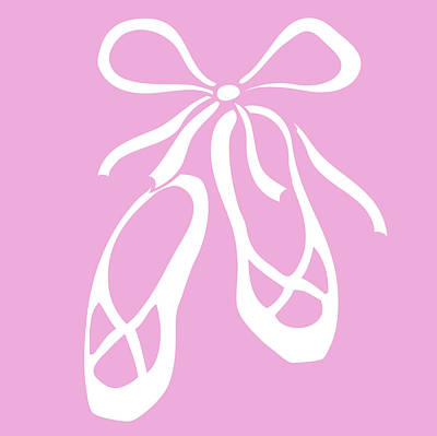 Royalty-Free and Rights-Managed Images - White Ballet Slippers On Baby Pink by Irina Sztukowski