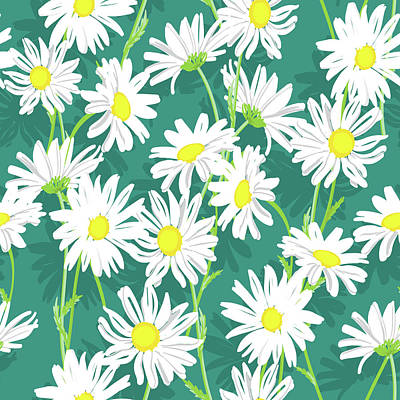 Royalty-Free and Rights-Managed Images - White chamomile flowers seamless floral pattern by Julien