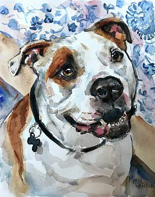 Painting - White Dog In Watercolor by Maria Reichert