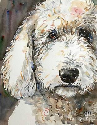 Painting - White Dog Painting by Maria Reichert