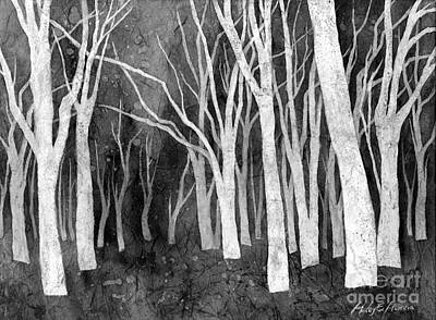 Black And White Ink Illustrations - White Forest I in Black and White by Hailey E Herrera