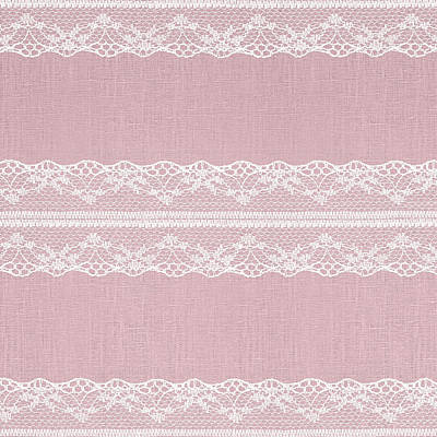 Royalty-Free and Rights-Managed Images - White Lace on Pastel Pink Linen Texture by Julien