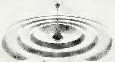 Digital Art - White Liquid Undulations Watercolor by Allan Swart