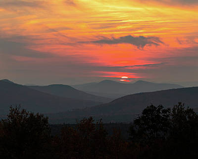 Photograph - White Mountains New Hampshire Sunset 8x10 by William Dickman