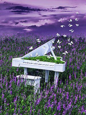 Surrealism Digital Art - White piano in lavender field  by Mihaela Pater
