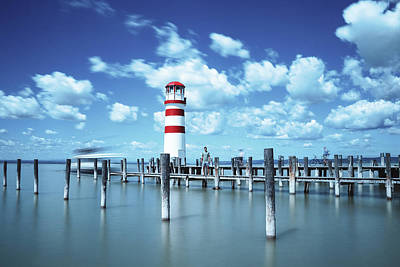 Sports Royalty-Free and Rights-Managed Images - White-red lighthouse in Podersdorf am See by Vaclav Sonnek