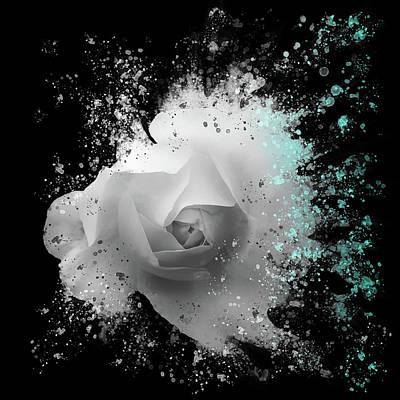 Unicorn Dust - White Rose - Blue Splash by Philip Openshaw