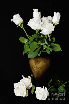 Marvelous Marble - White Roses in a Vase on Black by Regina Geoghan