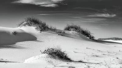 Surrealism Royalty-Free and Rights-Managed Images - White Sand Dunes National Park BW by Jerry Fornarotto
