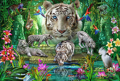 Digital Art - White Tiger Temple by MGL Meiklejohn Graphics Licensing