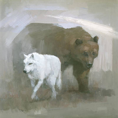 Painting - White Wolf, Brown Bear by Steve Mitchell