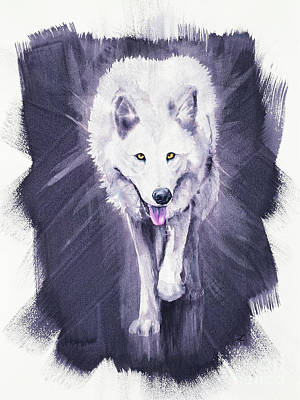Recently Sold - Animals Royalty-Free and Rights-Managed Images - White Wolf by Zaira Dzhaubaeva