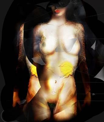 Surrealism Digital Art - White...Gold Body and surrealism.. Female figure drawing. Digital Artwork. by Grant Wilson