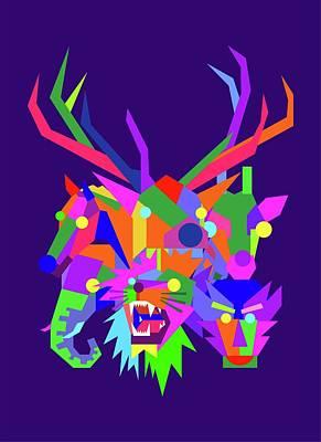 Animals Digital Art - Wild Animals Geometric WPAP Style with Blue Background  by Ahmad Nusyirwan