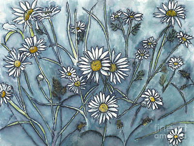 Scifi Portrait Collection - Wild Daisies in Ink and Watercolor by Conni Schaftenaar