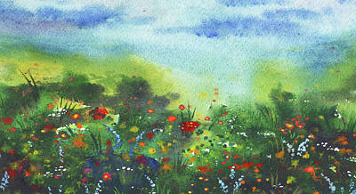 Coy Fish Michael Creese Paintings - Wild Flowers In The Field Impressionistic Landscape  by Irina Sztukowski