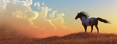 Animals Digital Art - Wild Horse and Approaching Storm by Daniel Eskridge