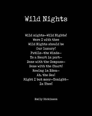 Digital Art - Wild Nights - Emily Dickinson Poem - Literature - Typewriter Print - Black by Studio Grafiikka