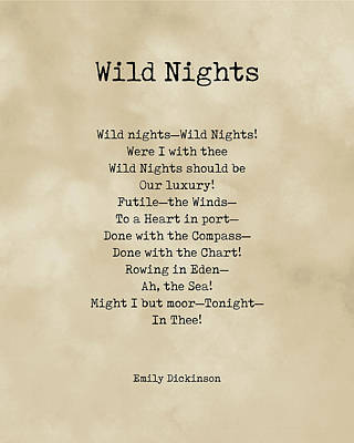 Royalty-Free and Rights-Managed Images - Wild Nights - Emily Dickinson Poem - Literature - Typewriter Print on Old Paper by Studio Grafiikka