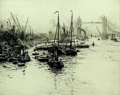 Superhero Ice Pop - William Lionel Wyllie 1851 1931 Drypoint etching   The Pool of London by Artistic Rifki
