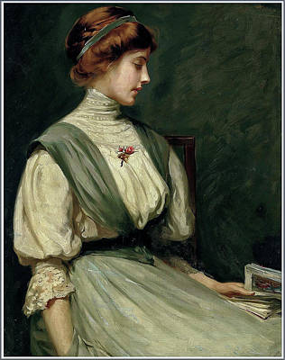 David Bowie - William Mainwaring Palin 1862 1947 Portrait of Nora Allen reading a Book  1910 by Artistic Rifki