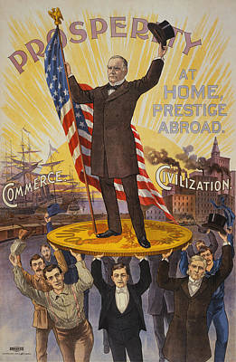 Recently Sold - Landmarks Painting Royalty Free Images - William McKinley Campaign Poster Royalty-Free Image by War Is Hell Store