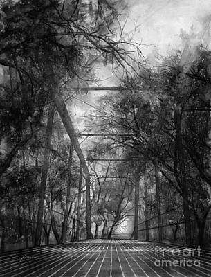 Royalty-Free and Rights-Managed Images - Willow Springs Road Bridge in Black and White by Hailey E Herrera