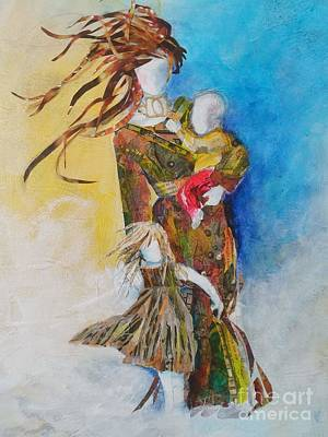 Mixed Media - Wind Woman and her Children by Sandra Taylor-Hedges