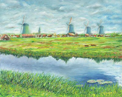 Painting - Windmills at Zaanze Schans by Stan Sweeney