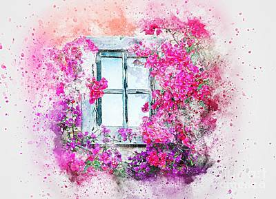 Abstract Shapes Janice Austin Royalty Free Images - Window Flowers Nature Art Abstract Watercolor painting. Royalty-Free Image by Heinz G Mielke