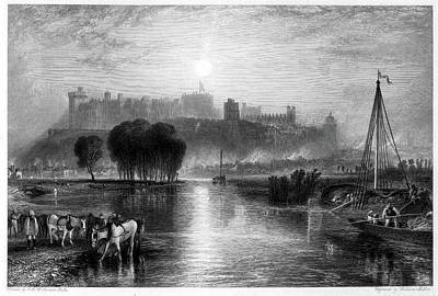 Holiday Pillows 2019 - Windsor Castle, Berkshire engraving by William Miller after J M W Turner by J M W Turner